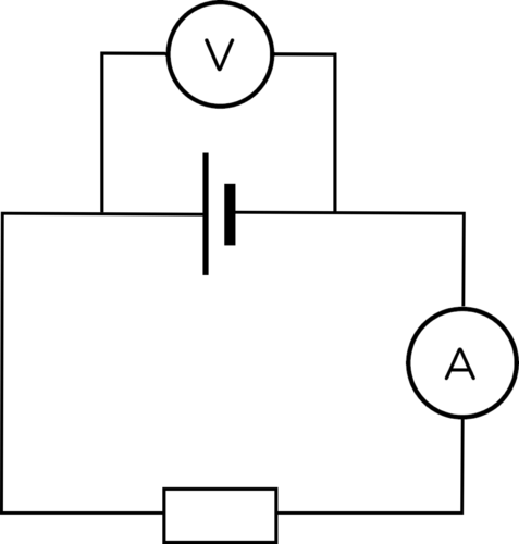 a closed circuit with an ammeter and resistor in series and three cells in  parallel, with a voltmeter connected to measure the potential difference  across